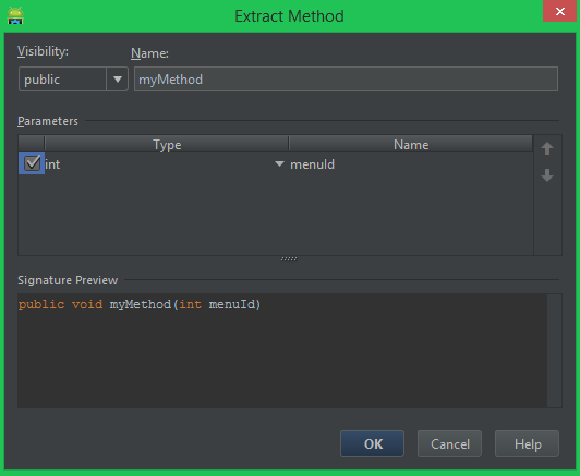 Android Studio extract as method